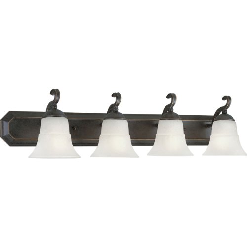 Barcelona 4 Light Wall Fixture - Progress Lighting P3024-84 4-Light Bath Bracket with Etched Water Glass, Espresso
