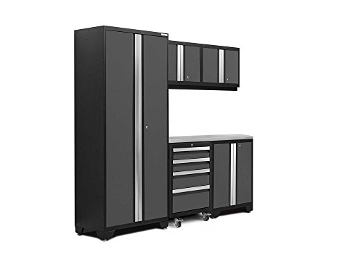 NewAge Products 50400 Bold 3.0 Garage Storage Cabinet Set with Stainless Steel Worktop (6Piece), Gray