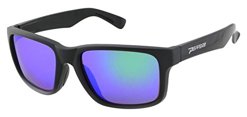 Pepper's Beachcomber Polarized Wayfarer Sunglasses, Rubberized Matte Black, 55 mm