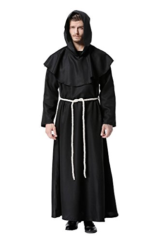 Friar Tuck Monk Costumes (DreamCos Friar Robe Medieval Renaissance Cowl Hooded Monk Costume,Medium,Black)