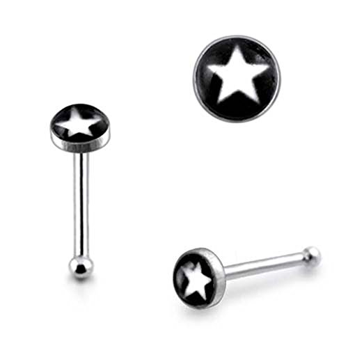 - Pack of 5 Pieces 3MM White Star Logo 925 Sterling Silver 20Gx1/4 (0.8x6MM) Ball End Nose Pin
