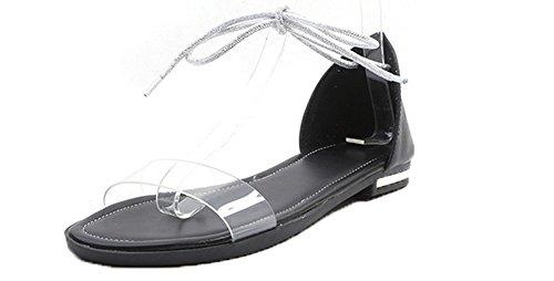 Sandales AgooLar d'orteil Unie Noir Couleur Femme GMBLA014861 Bas Ouverture Talon Lacet ¨¤ Oz64zw
