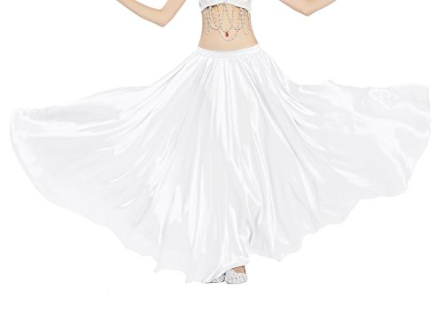 Dance Fairy Satin Long Swing Skirt for Dance Party Costume,White - Creative One Of A Kind Costumes