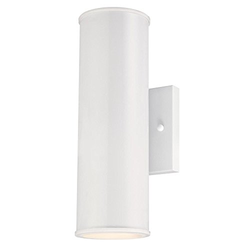 (Westinghouse Lighting 6361400 Mayslick Two LED Up and Down Light, White Finish with Frosted Glass Lens OUTDOOR WALL Fixture,)