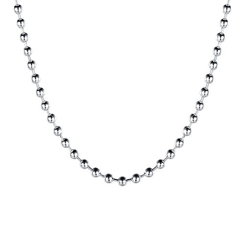 Pendant 18' Curb Chain (KOREA-JIAEN Chain Necklace 18'' S925 Sterling Silve Chain Necklace with 2mm Bead Sets Chain Fit for Jewelry Making and DIY Dress up (18in, shap-2))