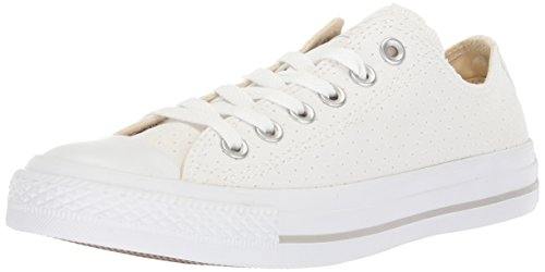 Converse Women's Chuck Taylor All Star Perforated Canvas Low Top Sneaker, White/White/White, 8.5 M US