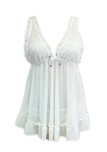 Alion Womens Sexy Lingerie Babydoll Lace Set White Os