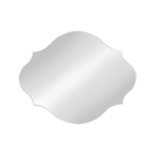 DesignOvation Reign Frameless Oval Scalloped Beveled Mirror, -