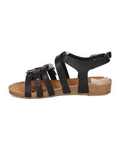 Alrisco Dames Kunstleer Strappy Sandaal - Open Teen Strappy Sandaal - Gegoten Voetbed Sandaal - Gi57 Door Zwart Kunstleer