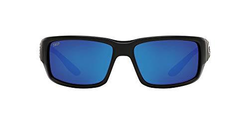 Blackout//Grey Blue Mirrored Polarized-580P Costa Del Mar Mens Fantail 580P Polarized Rectangular Sunglasses 59 mm