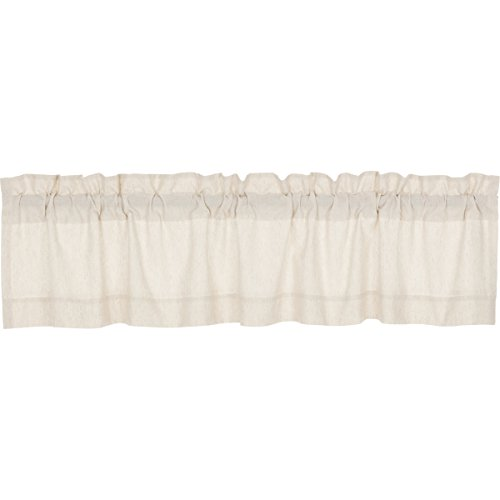 VHC Brands Farmhouse French Country Curtains Simple Life Flax Solid Valance, 16 L x 72 W, Natural
