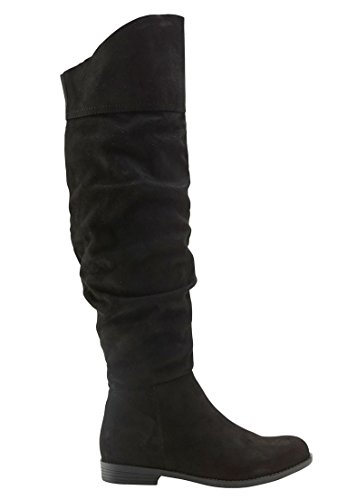 (Ellos Women's Plus Size Over-The-Knee Faux Suede Slouch Boots - Black, 8 M)