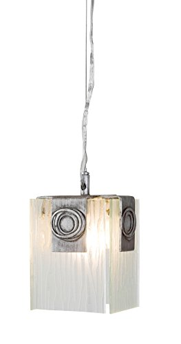 Polar Pendant Light (Varaluz 182M01 Polar Light Mini-Pendant, Blackened Silver Finish with Ice Crystal Recycled Glass Shade, 4-3/4-Inch by 7-1/2-Inch)