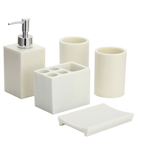 Hotab 5pcs Durable Resin Bathroom Accessory Sets Bath Ensemb