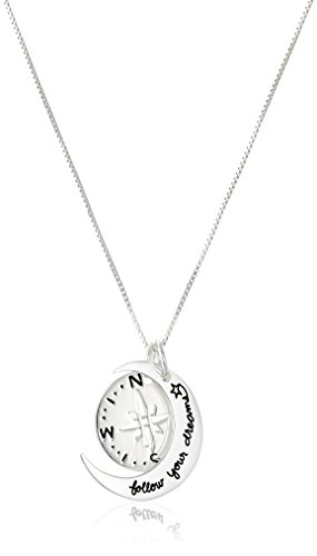 """Sterling Silver Two-Piece Compass """"Follow Your Dreams"""" Pendant Necklace, 18"""" by Amazon Collection"""