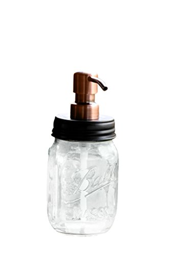 Ball Jar Soap Dispenser with Metal Copper Pump and Black Lid - Clear Pint Mason Jar Soap Dispenser by Industrial Rewind (Decorative Foaming Soap Dispenser)