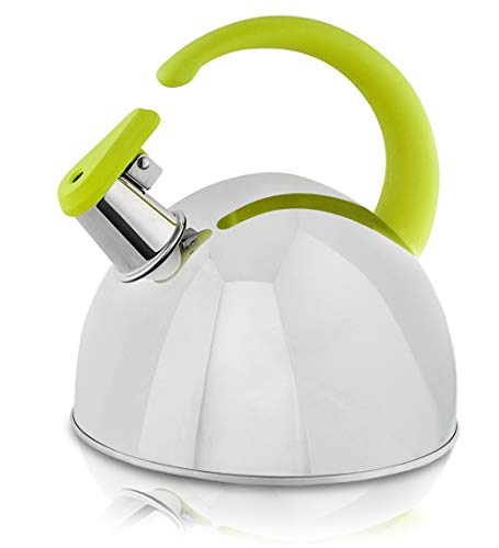 Whistling Tea Kettle, 304 Stainless Steel with Green Soft Touch Silicone Handle, 1.7QT – Pour Over Kettles with Modern Accents – Stylish, Encapsulated Base, Rust-Proof, Stovetop Coffee and Tea Pots Review