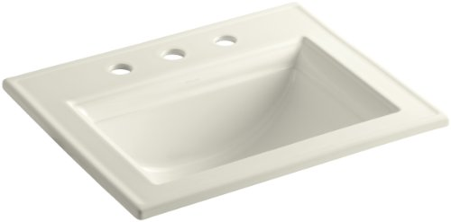 Kohler 2337-8-96 Ceramic Drop-In Rectangular Bathroom Sink, 27.38 x 22.38 x 11.5 inches, Biscuit ()
