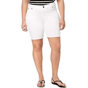 Celebrity Pink Womens Plus Dare You Denim Walking Bermuda Shorts - White - 20W