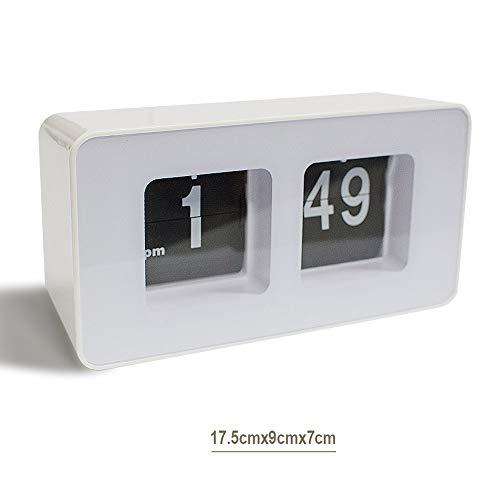 (Zinnor Auto Flip Classic Desk Wall Clock, Retro Digital Desk Table File Down Page Clock, White Best-mall Stylish Modern Retro)