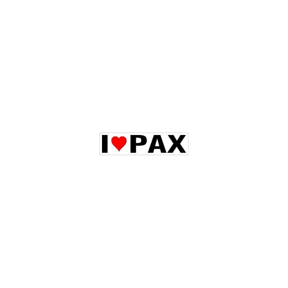 I Heart Love Pax   Window Bumper Sticker