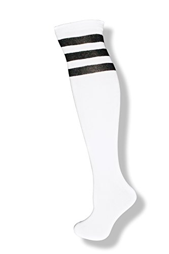 Black And White Striped Socks Costume (Unisex White Knee High Team Tube Socks w/ Three Various Colored Stripes (White w/ Black Stripes))