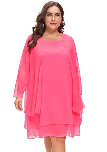 MISSJOY Women's Plus Size Business Chiffon Jacket Mother of The Bride Dress Suit Pink
