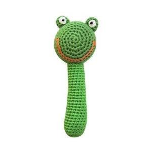 Organic Frog Rattle (Cheengoo Organic Crocheted Frog Stick Rattle)