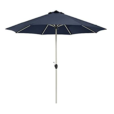 Classic Accessories Montlake FadeSafe 9-Foot Round Aluminum Patio Umbrella, Heather Indigo - Montlake Fadesafe water-repellant, solution-dyed fabric is both stylish and engineered to resist fading and retain vibrancy 8 aluminum ribs provide for extra strength and wind resistance. Constructed with high-grade 100% virgin aluminum, stainless steel hardware and ABS plastic for lasting durability. Powder coated eggshell white finish Canopy provides maximum protection from the sun delivering an independently verified UV Protection Factor (UPF) of 50+ and blocking 100% of UV penetration (A & B rays) - shades-parasols, patio-furniture, patio - 314t8m 2CRL. SS400  -