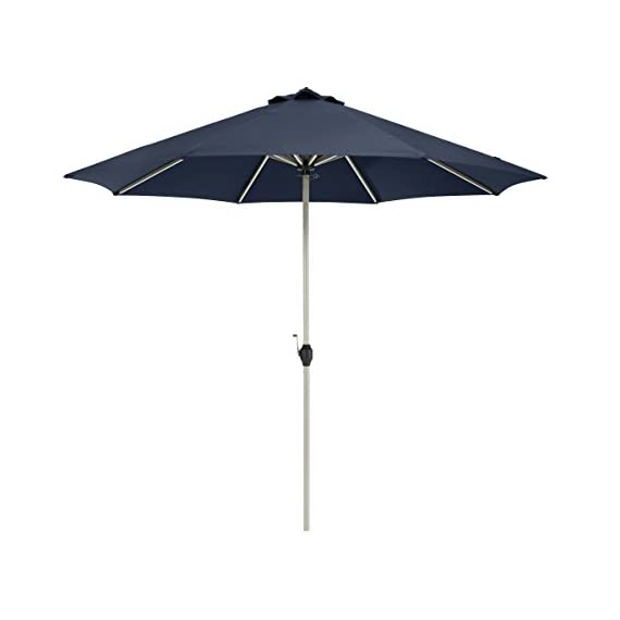Classic Accessories Montlake FadeSafe 9-Foot Round Aluminum Patio Umbrella, Heather Indigo - Montlake Fadesafe water-repellant, solution-dyed fabric is both stylish and engineered to resist fading and retain vibrancy 8 aluminum ribs provide for extra strength and wind resistance. Constructed with high-grade 100% virgin aluminum, stainless steel hardware and ABS plastic for lasting durability. Powder coated eggshell white finish Canopy provides maximum protection from the sun delivering an independently verified UV Protection Factor (UPF) of 50+ and blocking 100% of UV penetration (A & B rays) - shades-parasols, patio-furniture, patio - 314t8m 2CRL. SS570  -