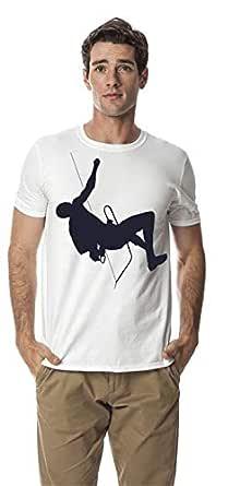 Mountain climbing sports round neck cotton tshirt, White S