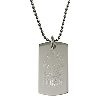 NOTTINGHAM FOREST FC STAINLESS ENGRAVED CREST DOG TAG /& CHAIN PENDANT NECKLACE