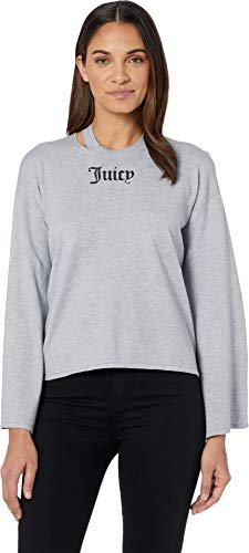 Juicy Couture Black Label Womens Logo Crew Neck Pullover Sweater Gray L