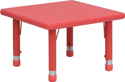 Flash Furniture 24'' Square Red Plastic Height Adjustable Activity Table by Flash Furniture