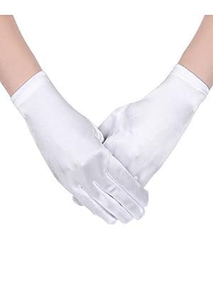 Sumind Short Satin Gloves Wrist Length Gloves Women's Gown Gloves Opera Wedding Banquet Dress Glove for Party Dance
