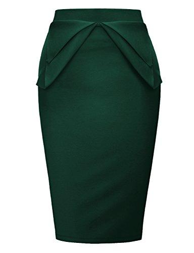 Regna X Love Coated Womens Lined midi Slim Skirt Green 2XL Lined V-neck Skirt
