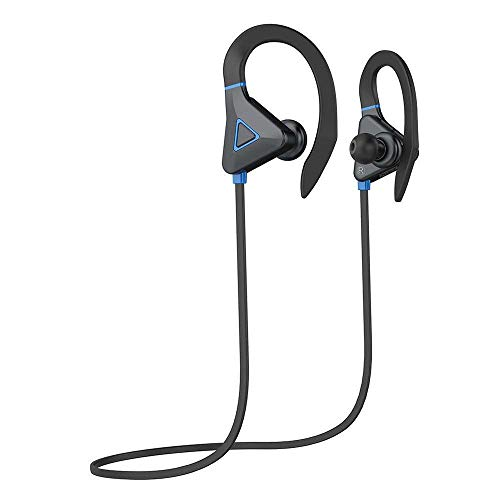 Vacio Bluetooth Earbuds, Sports with Ear Hooks in-Ear Noise-isolating Earphones Waterproof & Magnet Design HD Stereo Sound with Mic and for iPhone, iPad, iPod, Mp3 Samsung Phones/PC/Tablet-Blue