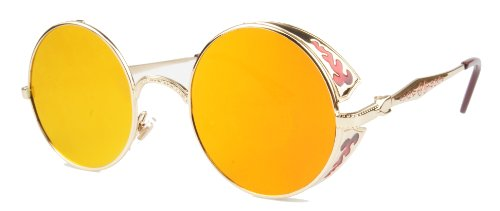 Vivian & Vincent Vintage Hippie Retro Metal Round Circle Frame Sunglasses (Gold Frame Orange Mirrored Lens)]()