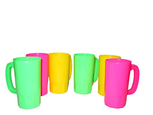 14 Stein Plastic Oz (Talisman, Small Plastic Mugs, 14 Ounces, Pack 9, Pink, Yellow, Lime Colors)