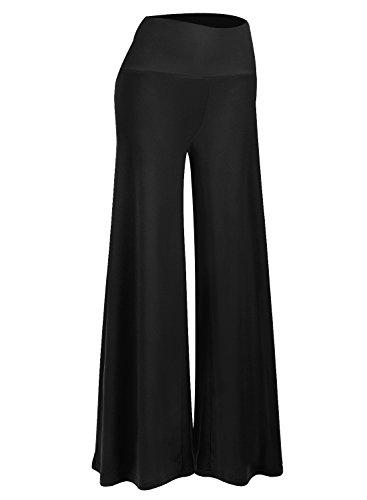 (Arolina Women's Stretchy Wide Leg Palazzo Lounge Pants (XXL, F-Black))