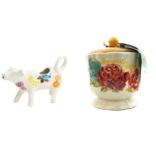 Pioneer Woman Jubilee Lidded SUGAR POT BOWL Beautiful Floral Pattern with Pioneer Woman White Floral Cow Creamer Bundle GREAT FOR CHRISTMAS AND BIRTHDAY GIFTS