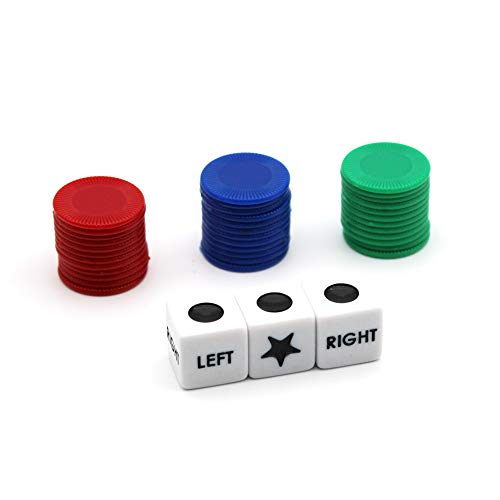 Jackyxcm Left Right Center Dice Game Set with 3 Dices + 36 Colorful Chips