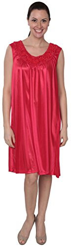 Beverly Rock Women's Tricot Long Silk Satin Shiny Sleeveless Nightgown FUF033 Red 2X