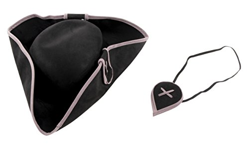 Pirate Hat with Eye Patch - 2-Piece Pirate Costume Accessories for Halloween, -