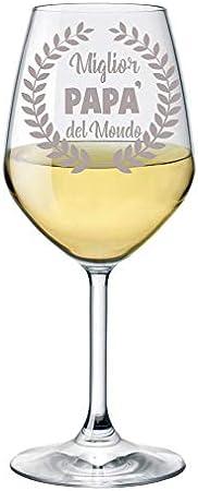Copa de vino grabada con papá abuelo, Zio Mamma Nonna Zia Mejor del Mundo – Copa de cristal 500 ml Papa S