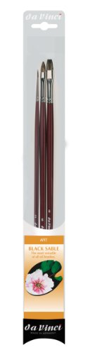 da Vinci Oil & Acrylic Series 5015 Russian Black Sable Paint Brush Set, Multiple Sizes, 3 Brushes (Series 1640, 1840, 1845)