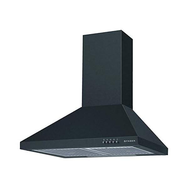Faber 60 cm 800 m³/HR Pyramid Kitchen Chimney (HOOD CONICO PLUS BF BK 60, 2 Baffle Filters, Black)