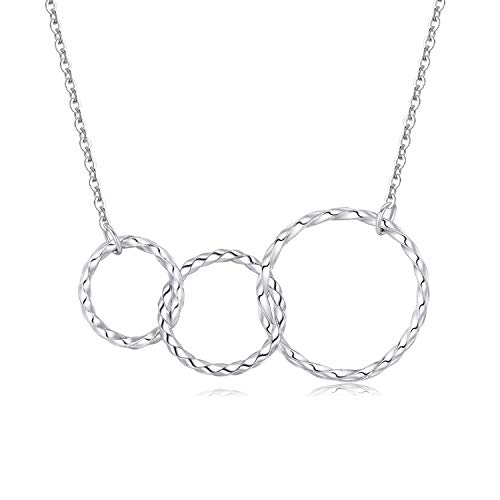 Women 925 Sterling Silver Infinity Necklace 3 Interlocking Circles White Gold Plated Pendant Family Love Mother Daughter Grandma Generations Necklace Friendship Eternity Jewellery