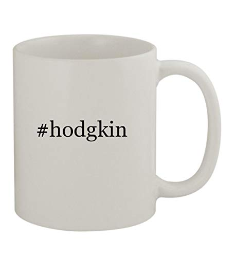 White Awareness Ribbon Photo Charm - #hodgkin - 11oz Sturdy Hashtag Ceramic Coffee Cup Mug, White
