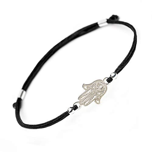 Hamsa Hand of Fatima Silver Bracelet - Evil Eye Protection Sterling Silver Charm Jewelry Lucky Success Amulet Pendant Black String Rope Adjustable Friendship Handmade Bracelet Men Women (Black)